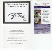 George W. Bush Hand Signed Unused Decision Points Bookplate       Rare       Jsa