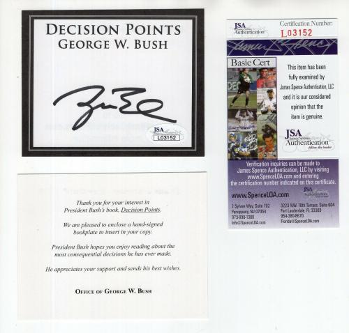 George W. Bush Hand Signed Unused Decision Points Bookplate       Rare       Jsa
