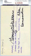 George Wallace Alabama Jsa Authenticated Signed 3x5 Index Card Autograph