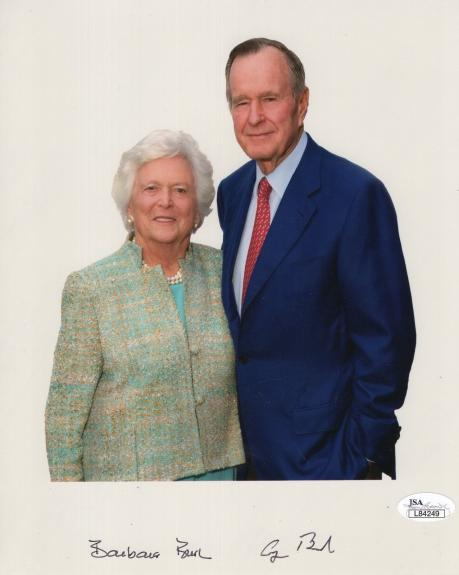 GEORGE+BARBARA BUSH HAND SIGNED 8x10 COLOR PHOTO    SIGNED BY BOTH   RARE    JSA