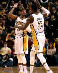 """Paul George & Roy Hibbert Indiana Pacers Dual Autographed 16"""" x 20"""" High Five Photograph"""