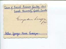 Georges-Henri Levesque Canadian Preist Sociologist Clergy Signed Autograph