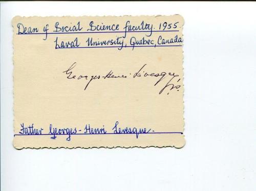 Georges-Henri Levesque Canadian Preist Sociologist Clergy Signed Autograph
