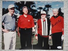 GERALD FORD HAND SIGNED OVERSIZED 11x14 PHOTO    WITH HOPE+BUSH+CLINTON      JSA