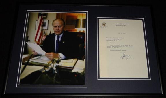 Gerald Ford Signed Framed 1967 Typed Letter & Photo Display JSA