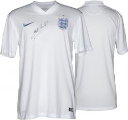 Steven Gerrard Autographed Jersey - England White Home Front Mounted Memories