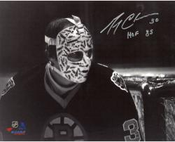 """Gerry Cheevers Boston Bruins Autographed 8"""" x 10"""" Black And White In Net Photograph With HOF 85 Inscription"""