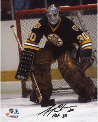 "Gerry Cheevers Boston Bruins Autographed 8"" x 10"" Black Vertical Photograph With HOF 85 Inscription"