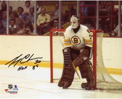 "Gerry Cheevers Boston Bruins Autographed 8"" x 10"" White In Net Photograph With HOF 85 Inscription"