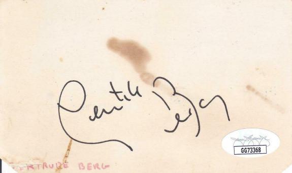 GERTRUDE BERG d 1966 Signed 3X5 Index Card Actress/The Goldbergs JSA GG73368