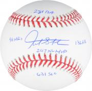 Giancarlo Stanton Miami Marlins Autographed Baseball with 2017 Stats Inscriptions - Limited Edition of 27