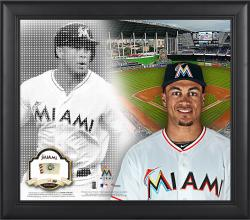 """Giancarlo Stanton Miami Marlins Framed 15"""" x 17"""" Mosaic Collage with Game-Used Baseball-Limited Edition of 99"""