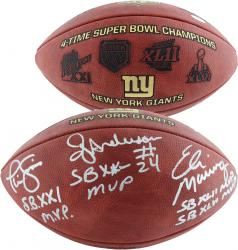Ottis Anderson, Eli Manning, & Phil Simms New York Giants Autographed Football with SB MVP Inscription - Mounted Memories