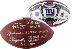 Ottis Anderson, Eli Manning, & Phil Simms New York Giants Autographed Football - Mounted Memories