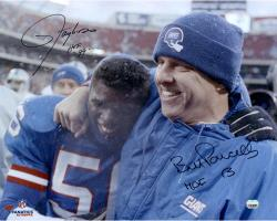 """Lawrence Taylor & Bill Parcells New York Giants Dual Autographed 16"""" x 20"""" Hugging Photograph with HOF 99 Inscription"""