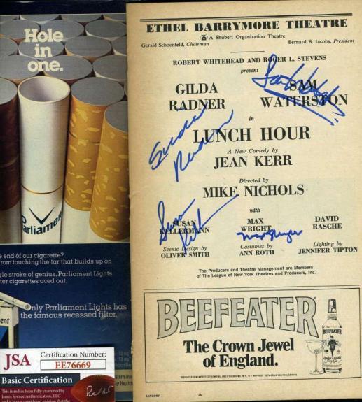Gilda Radner Etc Jsa Coa Hand Signed Playbill Authentic Autograph