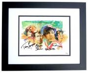 Gilligan's Island Signed - Autographed Lithograph 11x14 inch Photo BLACK CUSTOM FRAME by Tina Louise, Russell Johnson, Bob Denver, and Dawn Wells - Guaranteed to pass PSA or JSA