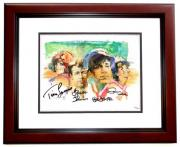 Gilligan's Island Signed - Autographed Lithograph 11x14 inch Photo MAHOGANY CUSTOM FRAME by Tina Louise, Russell Johnson, Bob Denver, and Dawn Wells - Guaranteed to pass PSA or JSA