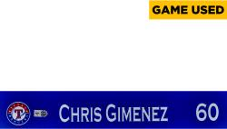Chris Giminez Texas Rangers 2014 Opening Day Locker Nameplate  - Mounted Memories  - Mounted Memories