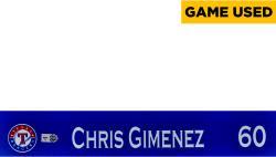 Chris Giminez Texas Rangers 2014 Opening Day Locker Nameplate  - Mounted Memories  - Mounted Memories