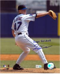 Tom Glavine New York Mets Autographed 8'' x 10'' Photograph with Happy Holidays Inscription - Mounted Memories