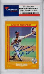 Tom Glavine Atlanta Braves Autographed 1988 Score #638 Rookie Card with HOF 2014 Inscription - Mounted Memories