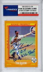 Tom Glavine Atlanta Braves Autographed 1988 Score #638 Rookie Card with Multiple Inscriptions - - Mounted Memories