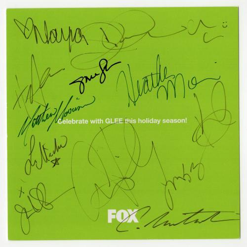Glee cast signed autographed greeting card! 13 signatures! RARE! Beckett BAS LOA