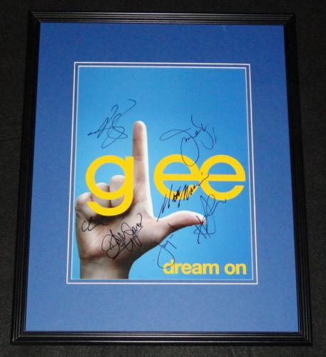 Glee Cast Signed Framed 11x14 Photo Poster AW Morrison Mays Lynch Morris + 4