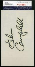 GLEN CAMPBELL JSA COA Hand Signed 3X5 Index Card Autograph Authenticated