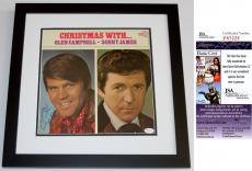 Glen Campbell Signed - Autographed Christmas With LP Record Album Cover BLACK CUSTOM FRAME - JSA Certificate of Authenticity