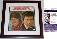 Glen Campbell Signed - Autographed Christmas With LP Record Album Cover MAHOGANY CUSTOM FRAME - JSA Certificate of Authenticity