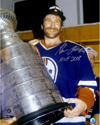 """Glenn Anderson Edmonton Oilers Autographed Holding Stanley Cup 16"""" x 20"""" Photograph with HOF 2008 Inscription"""