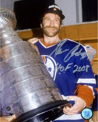 """Glenn Anderson Edmonton Oilers Autographed Holding Stanley Cup 8"""" x 10"""" Photograph with HOF 2008 Inscription"""
