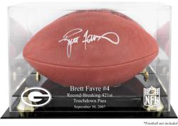 Brett Favre Green Bay Packers 421st TD Record-Breaker Golden Classic Logo Football Logo Display Case with Mirror Back - Mounted Memories