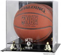 NBA Brooklyn Nets Golden Classic Logo Basketball Display Case - Mounted Memories