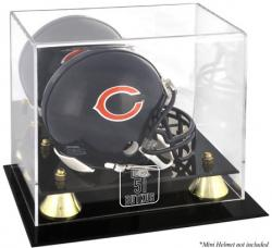 Dick Butkus Chicago Bears 51 Golden Classic Logo Mini Helmet Display Case