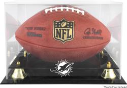 Miami Dolphins Golden Classic Football Display Case with Mirror Back - Mounted Memories