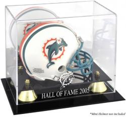 Miami Dolphins Golden Classic Logo Mini Helmet Display Case with 2005 Hall of Fame Lettering - Mounted Memories