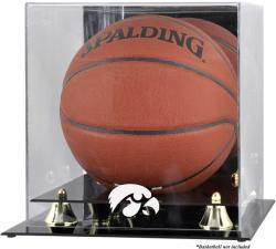 Iowa Hawkeyes Golden Classic Logo Basketball Display Case with Mirror Back - Mounted Memories