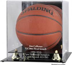 Jim Calhoun Connecticut Huskies Golden Classic Team Logo Basketball Display Case with Mirror Back - Mounted Memories