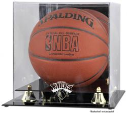New York Knicks Golden Classic Team Logo Basketball Display Case - Mounted Memories