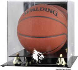 Louisville Cardinals Golden Classic Logo Basketball Display Case with Mirror Back - Mounted Memories