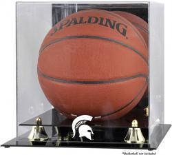 Michigan State Spartans Golden Classic Logo Basketball Display Case with Mirror Back - Mounted Memories
