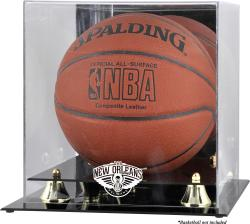 New Orleans Pelicans Golden Classic Logo Basketball Display Case - Mounted Memories