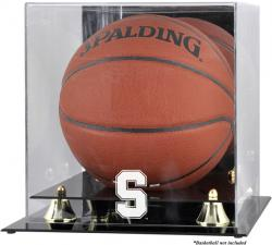 Stanford Cardinal Golden Classic Logo Basketball Display Case with Mirror Back - Mounted Memories
