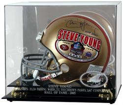 San Francisco 49ers Steve Young Hall of Fame Helmet Case - Mounted Memories