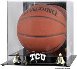 TCU Horned Frogs Golden Classic Logo Basketball Display Case with Mirror Back - Mounted Memories