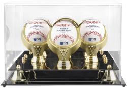Golden Classic Three Baseball Display Case with Mirror Back