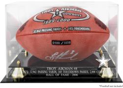 Dallas Cowboys Troy Aikman Hall of Fame Football Display Case - Mounted Memories